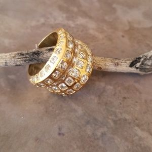 Vintage Gold CZ Stacked Wide Statement Ring 9